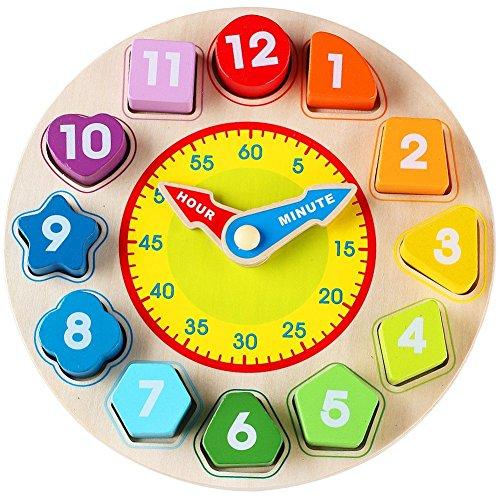 Lewo Holz Lehr Form Sortierung Uhr Lernspielzeug Spiele für Kinder 3 Jahre alt