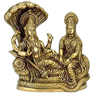 """Aone India Lord Vishnu with Lakshmi Rest Upon Shesha Naag - Brass Statue (8"""" Height)"""