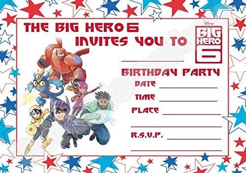 A5Disney Big Hero 6Kinder Party Einladungen x 12-Querformat Star Design (Hero Big 6 Kind)