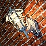 Rustikale Wand Außenleuchte Paris mit Bewegungsmelder in weiß-grau/Sensor verstellbar / E27 IP44 230V / Wandleuchte Außenlampe Beleuchtung Eingang