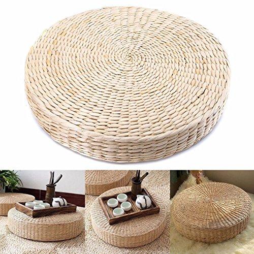 Mooouk Sitzkissen aus gewebtem Stroh, handgefertigt, rund, Tatami-Yoga-Bodenkissen, atmungsaktiv, Japanisches Tatami-Bodenkissen, Meditationskissen für Zuhause, 40cm X 6 cm, Free Size Japanischen Boden