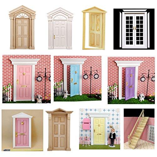 Casa de muñecas en miniatura de puerta externo y Marco Decorativ
