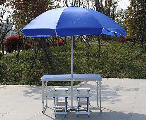 Jia He Klapptisch Outdoor-Klapptisch aus Holz - Stuhl-Set - Camping mit Sonnenschirmen und Kissen und höhenverstellbar - Bein Holz/blau/Klapp ESS-und Kaffee-und Couchtisch @@