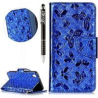 LG X Power Hülle,LG X Power Ledertasche Handyhülle Brieftasche im BookStyle,SainCat Schön Retro 3D Schmetterling... preisvergleich bei billige-tabletten.eu