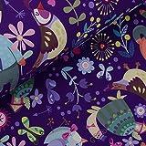 StoffMetropole Schöner Softshell mit Fuchs und Vogel auf