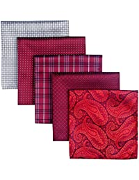 Retreez 5 Piece Assorted Woven Microfiber Premium Pocket Square Gift Box Set