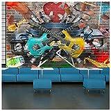 azutura Gitarre & Musik Fototapete Graffiti Tapete Kinder Schlafzimmer Haus Dekor Erhältlich in 8 Größen Riesig Digital