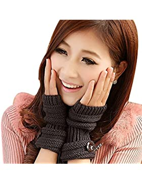 TININNA Invierno Cable Knit de punto sin dedos Guantes calentadores de muñeca para Mujeres Niñas con Diseño Botón...
