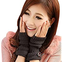 TININNA Invierno Cable Knit de Punto sin Dedos Guantes Calentadores de muñeca para Mujeres Niñas con Diseño Botón Gris Oscuro