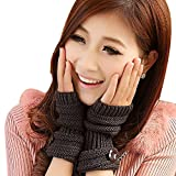 TININNA Winter Warmwer Buttons Gestrickte Fingerlose Armstulpen Strick Handschuhe Pulswärmer Handstulpen Stulpen für Damen Mädchen tiefen grauen