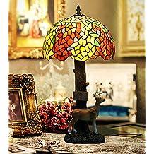 Lámpara de Tiffany estilo/Barroco Wisteria mesa retro lámpara ciervos/ lámpara decorativa de vidrio en color-A