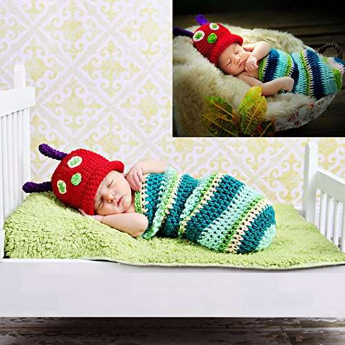Sunfire Neugeborene Crochet Knit Kostüm Fotografie Prop Outfits Baby Junge Mädchen Cartoon Kleidung Caterpillar (Kind Caterpillar Kostüm)
