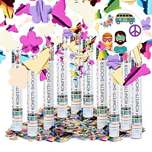 Relaxdays 10er Set Party Popper bunt mit Schmetterlingen, Blumen, Konfetti Kanone für Mottopartys, 40 cm Party Shooter, mehrfarbig