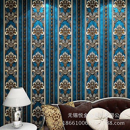 MDDW-Europäische Vliestapete Anaglyph 3D Beflockung sub Schattierungen von gesprenkelt gold retro Schlafzimmer Wohnzimmer Wand zu Wand Tapete , ss1000 light blue