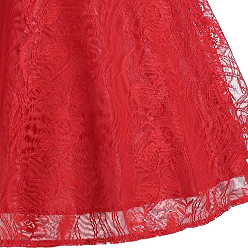 iBaste Vintage Rockabilly Spitze Cocktailkleid Ballkleider Swing Knielang Kleid Partykleider Rot 5