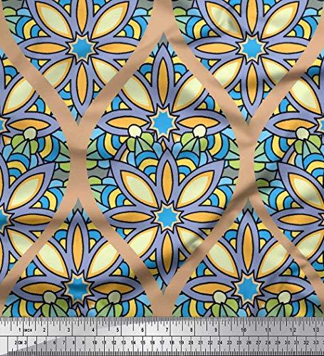 Seide Stoff Blumen & Ogee Damast Drucken Nahen Stoff 1 Meter 42 Zoll breit ()