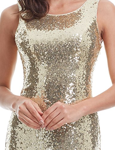 Ever Pretty Lang Pailletten Elegant Partykleid Cocktailkleid Abendkleid 38 Gold - 6