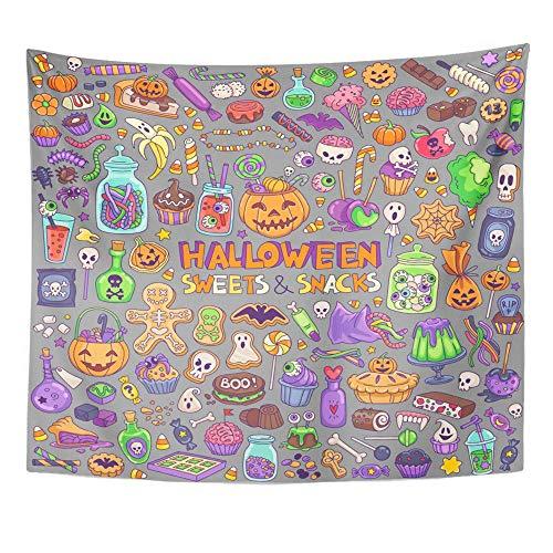 Soefipok Tapisserie Polyester Stoff Drucken Home Decor Halloween Süßigkeiten Süßigkeiten Snacks und Getränke für den Trick, die Kinder Party Wandbehang Tapisserie für Wohnzimmer Schlafzimmer Dorm