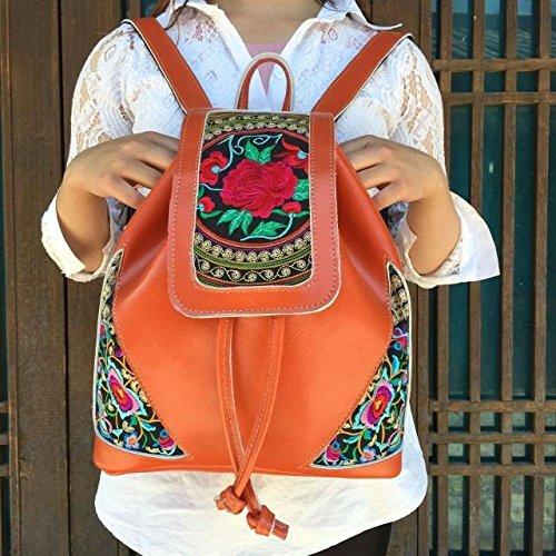 Onorevoli eolico nazionale ricamato in pelle borse a tracolla elegante zaino borse, arancio-rosso Orange Red