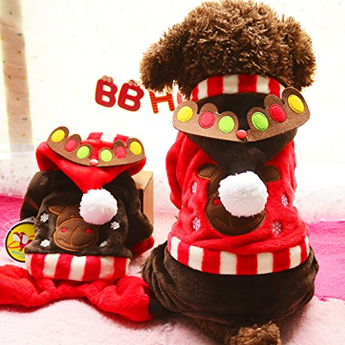 Phenovo Pet Dog Elk Moose Christmas Clothes Hoodie Kleidung Warm Cat Coat Red XS