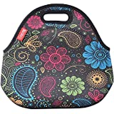 Colorful Paisley : Neoprene Lunch Tote Bags, YOUKEE Thick Insulated Thermal Cooler Lunch Bags Waterproof Outdoor Travel Picnic Lunch Handbags Tote With Zipper (Colorful Paisley)