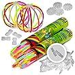 KNIXS - 200 B�tons lumineux fluorescents 20.5 x 0.5 cm, depuis 10 ans dans la qualit� professionnelle, score D'essai allemand : 1. 6 / 200 connecteur de bracelet 3D x + 4 connecteur de boule suppl�mentaire, 6 SUPER-M�LANGE de couleurs
