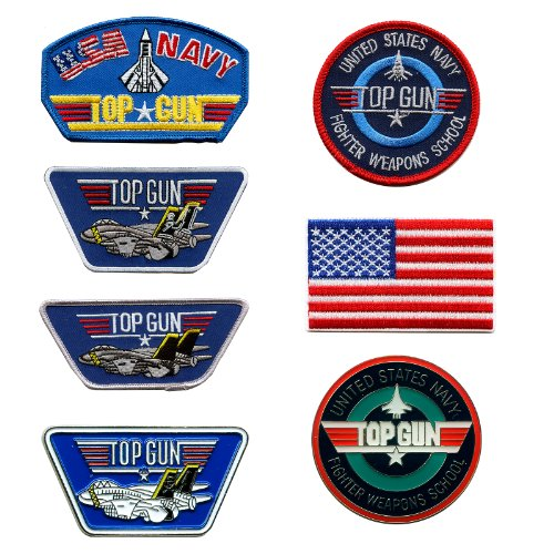 Sammlung - 7 TOP GUN Navy Fighter Weapons School USA Embleme - 5 Patches / Aufnäher und 2 Pin / Anstecker 0607 Sammlung 7