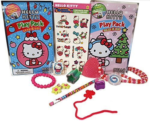 HELLO KITTY Activity Bundle Play Packs Pencil Eraser Tattoos bracelet hair clips lip gloss & More 13pc Travel Stocking Stuffers Birthday Christmas