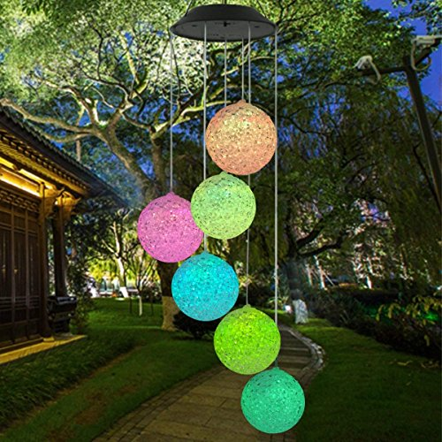 wer Wind Chime Spiral Spinner Kristallkugel Wind Mobile Portable Wasserdichte Outdoor Dekorative Romantische Wind Bell Light Patio Hof Garten Home Pathway ()