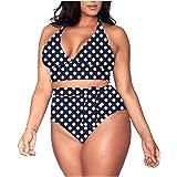 Viottiset Conjunto de bikini de dos piezas para mujer, talla grande, sexy, de cintura alta, acolchada, para mujer