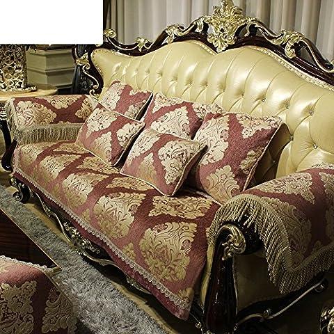 Serviette De Canapé/Universel,Combinaison Canapé Coussin/Style Européen,Canapé En Cuir/Luxueux,Anti-dérapant,Serviette De Sofa De Salon-A 90x240cm(35x94inch)