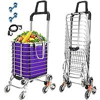 Macallen Carrello Spesa Pieghevole con 8 Ruote Trolley Portaspesa per Scale Leggere per Spesa