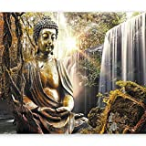 murando - Fototapete 200x140 cm - Vlies Tapete - Moderne Wanddeko - Design Tapete - Wandtapete - Wand Dekoration - Natur Buddha Wald Wasserfall Asia h-C-0032-a-c