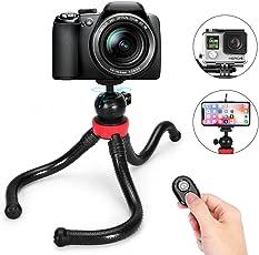 Handy-Stativ,Gopro Stativ,iPhone Stativ,Flexibles Smartphone Stativ mit Bluetooth Fernbedienung für iPhone und Android-Handy,Stativ für GoPro/Action Cam/DSLR/ Canon/Nikon