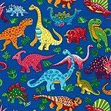 Fat Quarter Dinosaurier Dance on Blue, Baumwolle, 50 x 55 cm-Nutex
