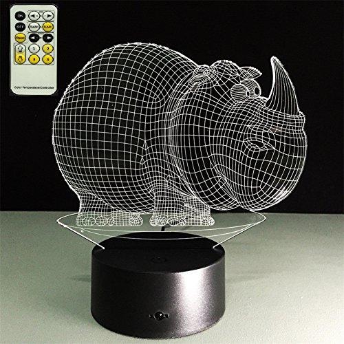 ATD® Modelli Carino Rinoceronte effetti 3D cambiamento di 7 colori 15 telecomando chiave LED lampada da tavolo Nightlight