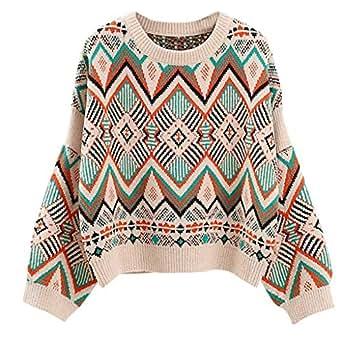 FeiliandaJJ Damen Pullover Herbst und Winter Geometrie