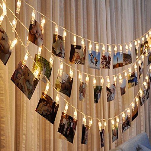 Jzk 5 metri stringa lucine luci led filo catena di mollette portafoto foto clip decorative per casa matrimonio compleanno natale battesimo bianco caldo