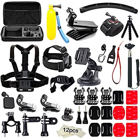 Soft Digits 50 en 1 Accesorio para GoPro Hero 5 4 3+ 3 2 1, Kit de Accesorios para SJ4000 SJ5000 SJ6000, Accesorios de la Cámara de Acción para Xiaomi Yi en Paracaidismo Natación Remo Surf Esquí Escalada Correr Montar en Bicicleta que Acampa de