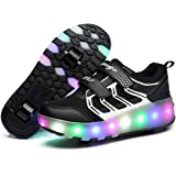 Skybird-UK 7 Colors Changing Upgraded LED Strips Roller Skate Shoes with Double Wheels Inline Automatic Retractable Technical