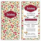(80 x) Hochzeitseinladungskarten Blumen Gelb Rot Ticket Einladungskarten Hochzeit