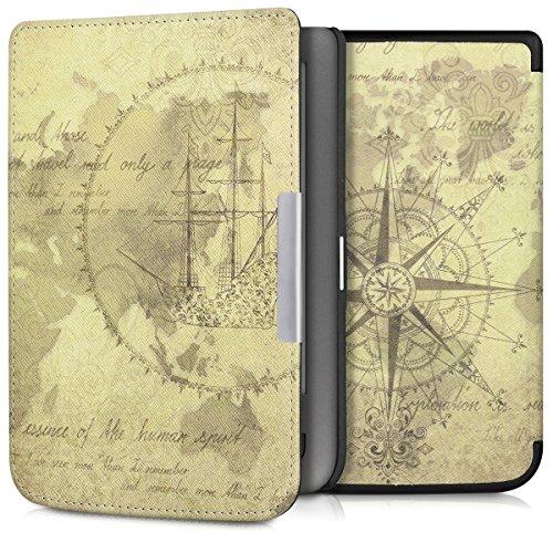 kwmobile Hülle für Pocketbook Touch Lux 3/Touch Lux 2/Basic Lux/Basic 3/Basic Touch 2 - Flipcover Case eReader Schutzhülle - Bookstyle Klapphülle Weltkarte Vintage Design Braun Hellbraun