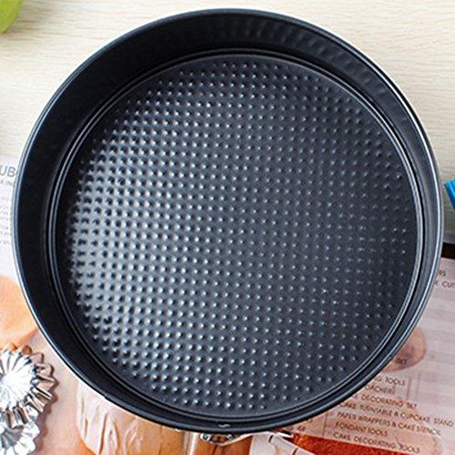Mini Springform Kuchen Pan KASHANG Leckdichte Käsekuchen Zinn für die Herstellung von Torte, Törtchen, Quiche Pfannen Kohlenstoff Stahl Schwarz (23cm)
