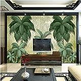 YUANLINGWEI Benutzerdefinierte Wandbild Tapete Südostasien Wand Tropischen Coco Nostalgie Wandbild Abstrakt Wohnzimmer Schlafzimmer Wandbilder 3D Wallpaper,270cm (H) X 350cm (W)