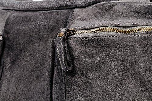 Ira del Valle, Damenhandtasche, echtes Leder, Vintage, Damen Schultertasche, Coast to Coast Tasche, Made in Italy Grau