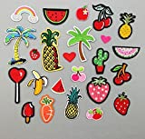 Yulakes 24 Stk Patch Sticker /Aufnäher Sticker /Niedlich DIY Kleidung Patches Aufkleber Obst Frucht Patches für T-Shirt Jeans Kleidung Taschen
