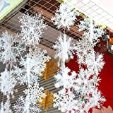 6 Piece White Snowflakes Christmas Decorations Supplies Hanging Ornaments by GAOHOU