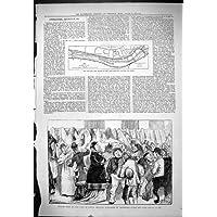 Una Stampa Antica del Fiume 1878 della
