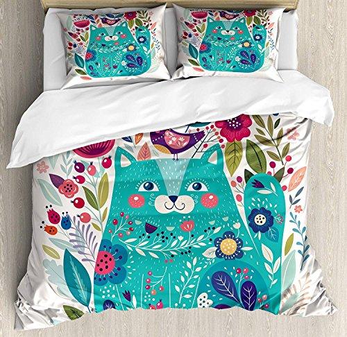 Cat 3 PCS Bettbezug Set, Cute Kitty umgeben von Vögeln Blumen Marienkäfer Inspirational Folk Baby Theme, Bettwäsche Set Tagesdecke für Kinder / Jugendliche / Erwachsene / Kinder, Seafoam Multicolor (Seafoam Baby Bettwäsche)