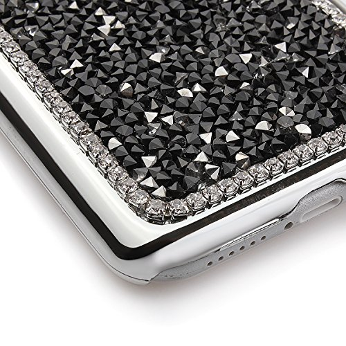 iPhone 6 Bling Hart Case - Felfy Apple iPhone 6 4,7 Zoll Diamant Luxus Kristall Strass Glitzer Shining Hard Back Cover Schale Handy Tasche Etui Hülle Protection + 1x Silber Stylus + 1x Screen Protecto Schwarz